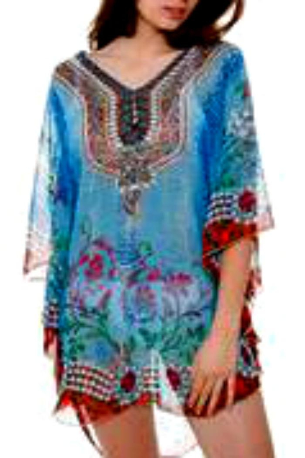 Patricia's Presents Embellished Caftan Turqoisetones - Front Cropped Image