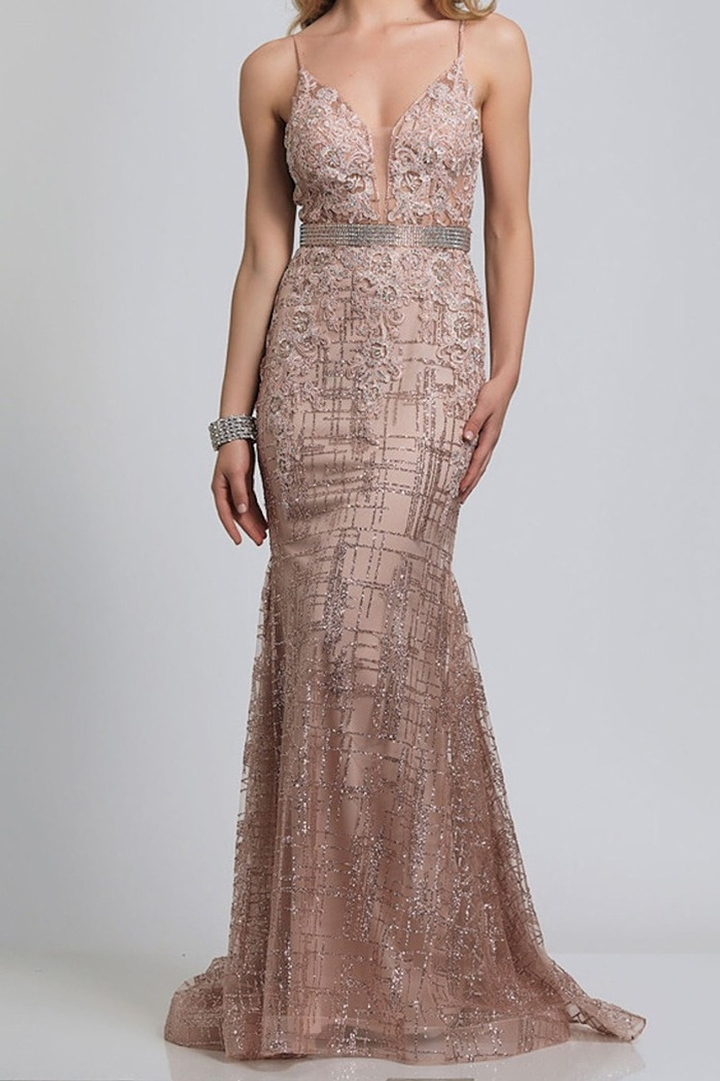 Dave and Johnny Embellished Deep V Gown - Front Cropped Image