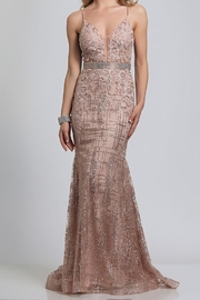 Dave and Johnny Embellished Deep V Gown - Front cropped