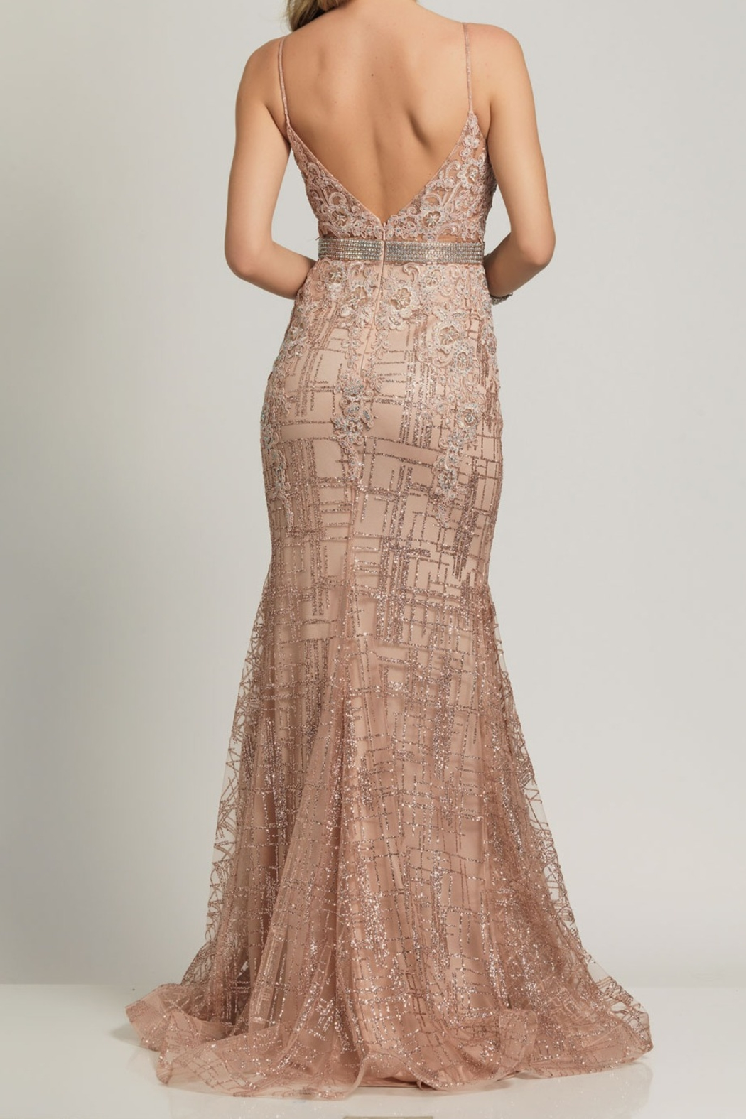 Dave and Johnny Embellished Deep V Gown - Main Image