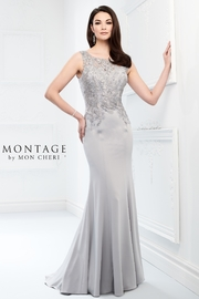 Montage Embellished Fit and Flare Dress, Latte - Front full body