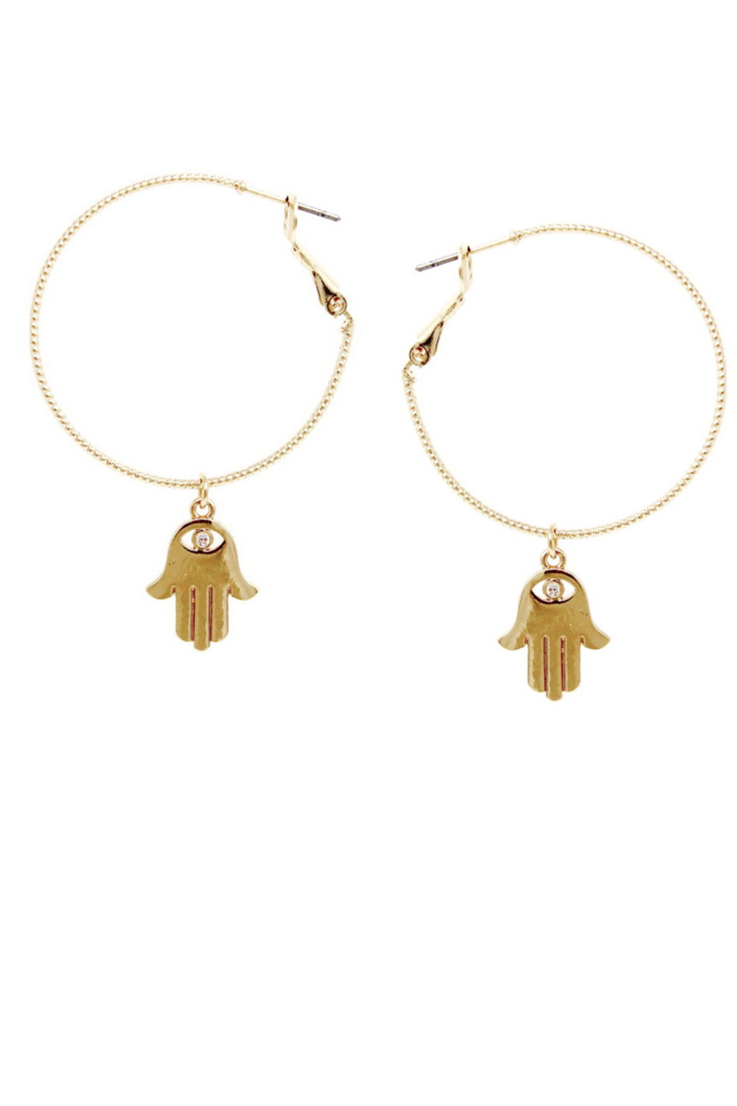 US Jewelry House Embellished Hamsa Charm Hoop Earrings - Main Image