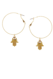 US Jewelry House Embellished Hamsa Charm Hoop Earrings - Front cropped