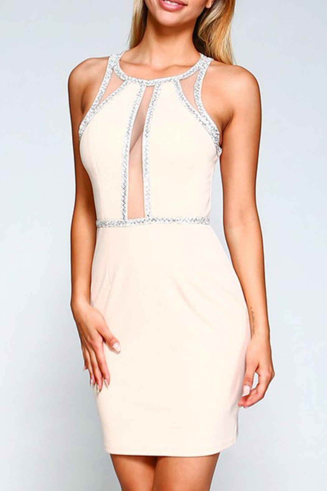 Minuet Embellished Illusion Detail Dress - Front Cropped Image