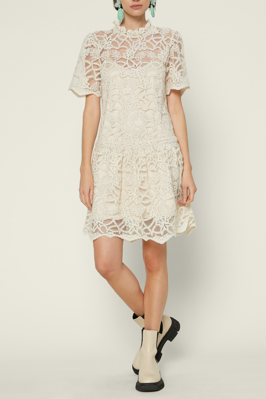 Current Air  Embellished Lace Mini Dress - Front Cropped Image