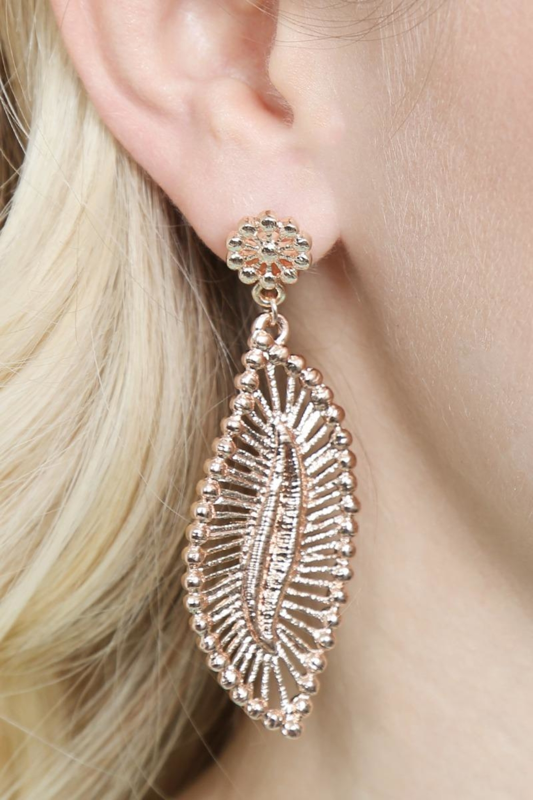 Riah Fashion Embellished-Marquise Filigree-Post-Earrings - Back Cropped Image