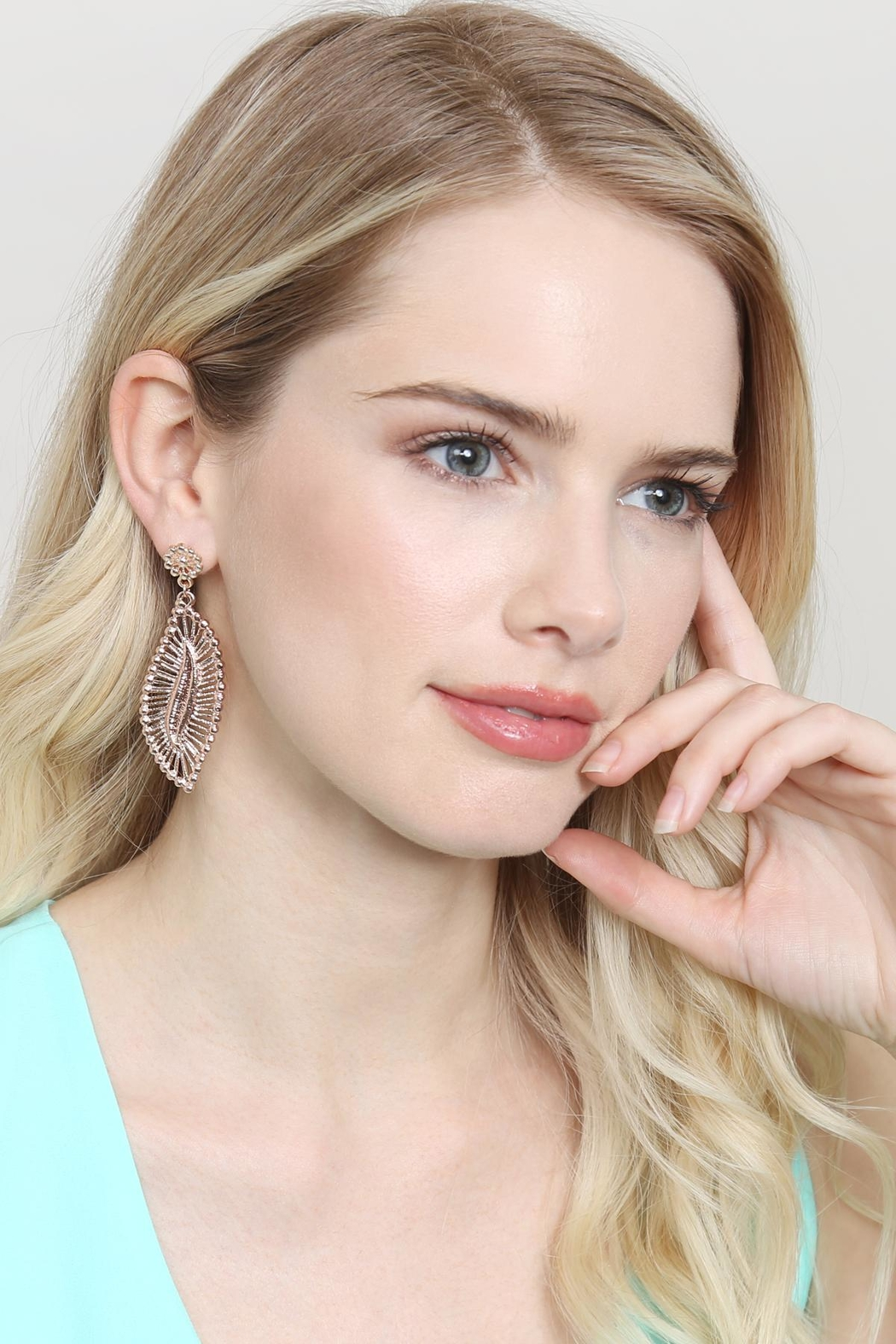 Riah Fashion Embellished-Marquise Filigree-Post-Earrings - Side Cropped Image