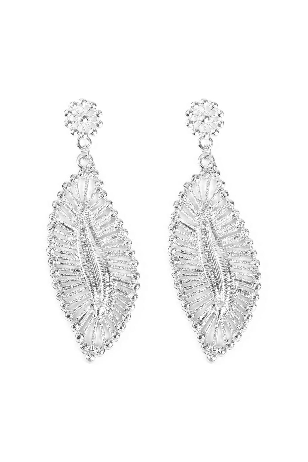 Riah Fashion Embellished-Marquise Filigree-Post-Earrings - Front Cropped Image