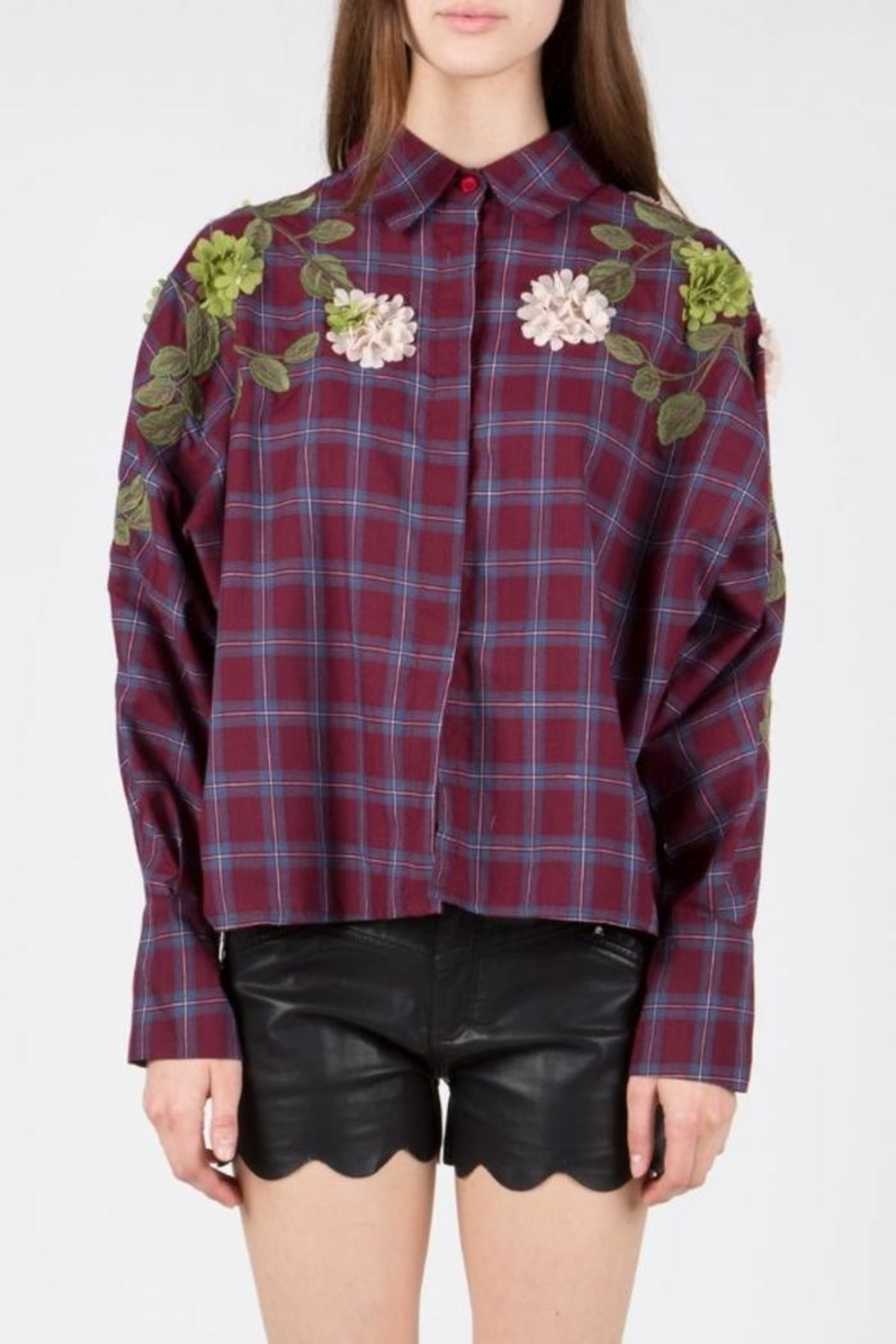 BEULAH STYLE Embellished Patch Blouse - Front Full Image