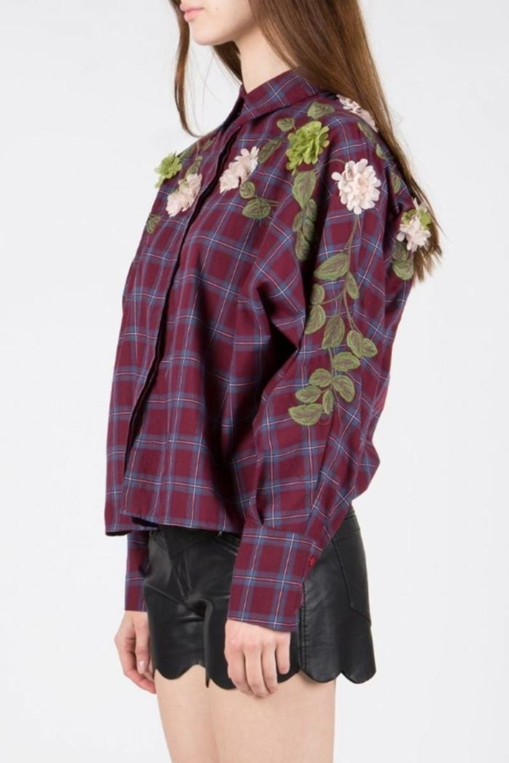 BEULAH STYLE Embellished Patch Blouse - Side Cropped Image