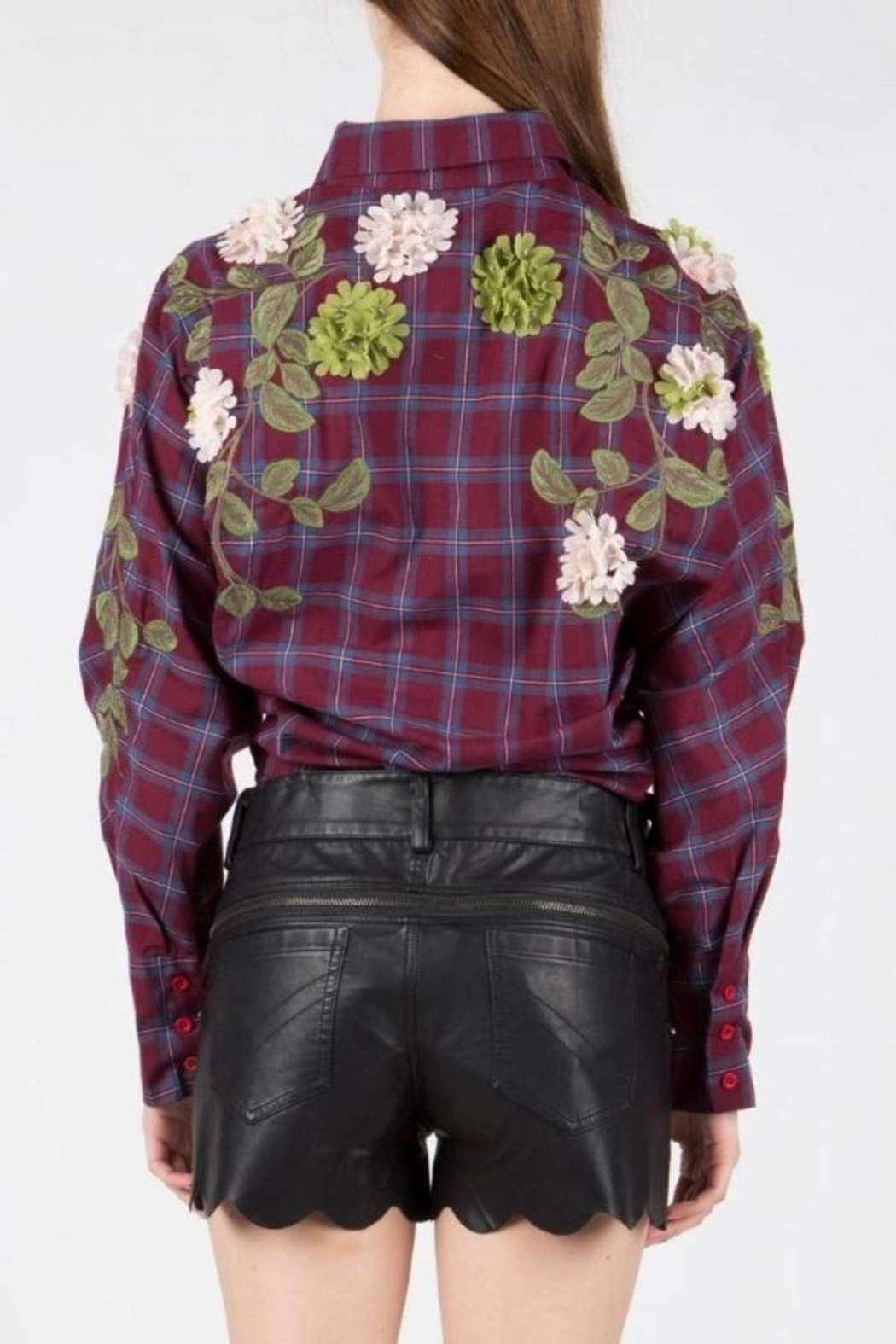 BEULAH STYLE Embellished Patch Blouse - Back Cropped Image