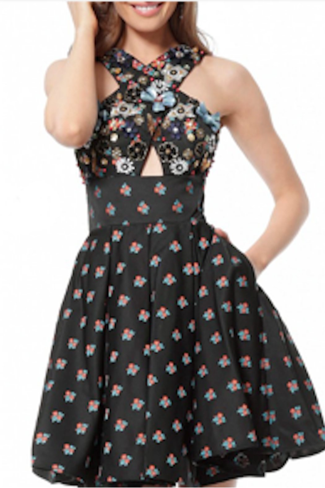 Jovani Embellished Print Criss Cross Fit & Flare - Main Image
