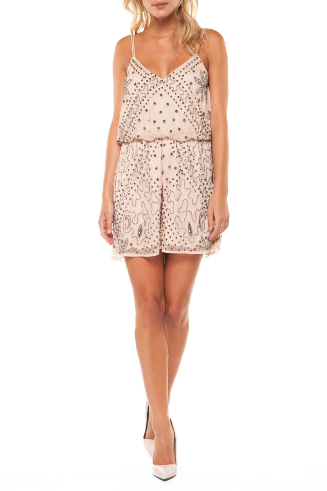 Dex Embellished Romper w Spaghetti Straps - Front Cropped Image