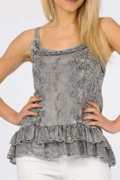Apparel Love Embroidered Grey Tank Top - Product List Image
