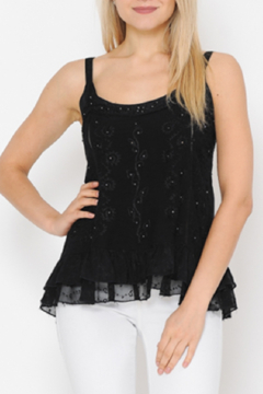 Apparel Love Embroidered Black Tank Top - Product List Image
