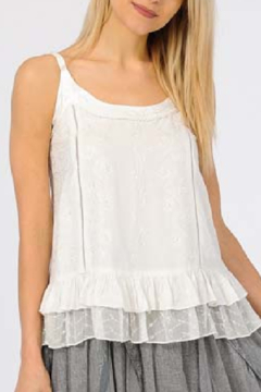 Apparel Love Embroidered White Tank Top - Product List Image