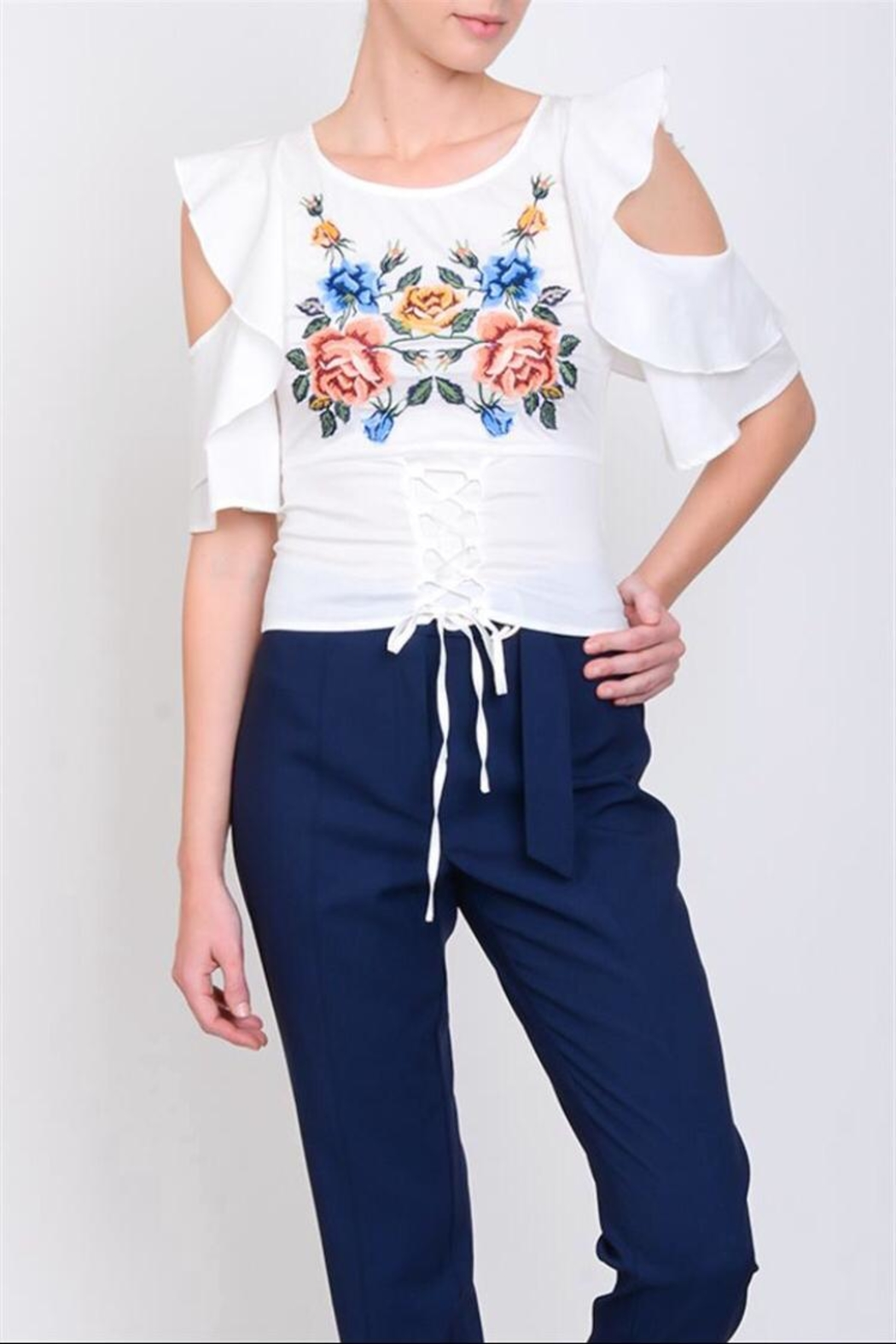 Lulumari Embo Cold-Shoulder Top - Front Cropped Image