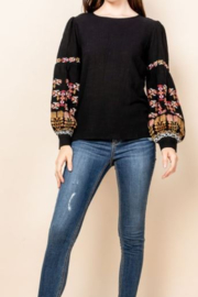 Thml Emboridered Bubble Sleeve Top - Product Mini Image