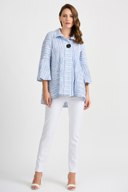 Joseph Ribkoff Embossed Crossover Jacket, White/Blue - Product Mini Image