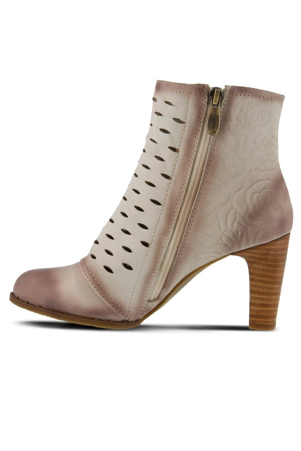 Spring Footwear Embossed Leather Bootie - Front Full Image
