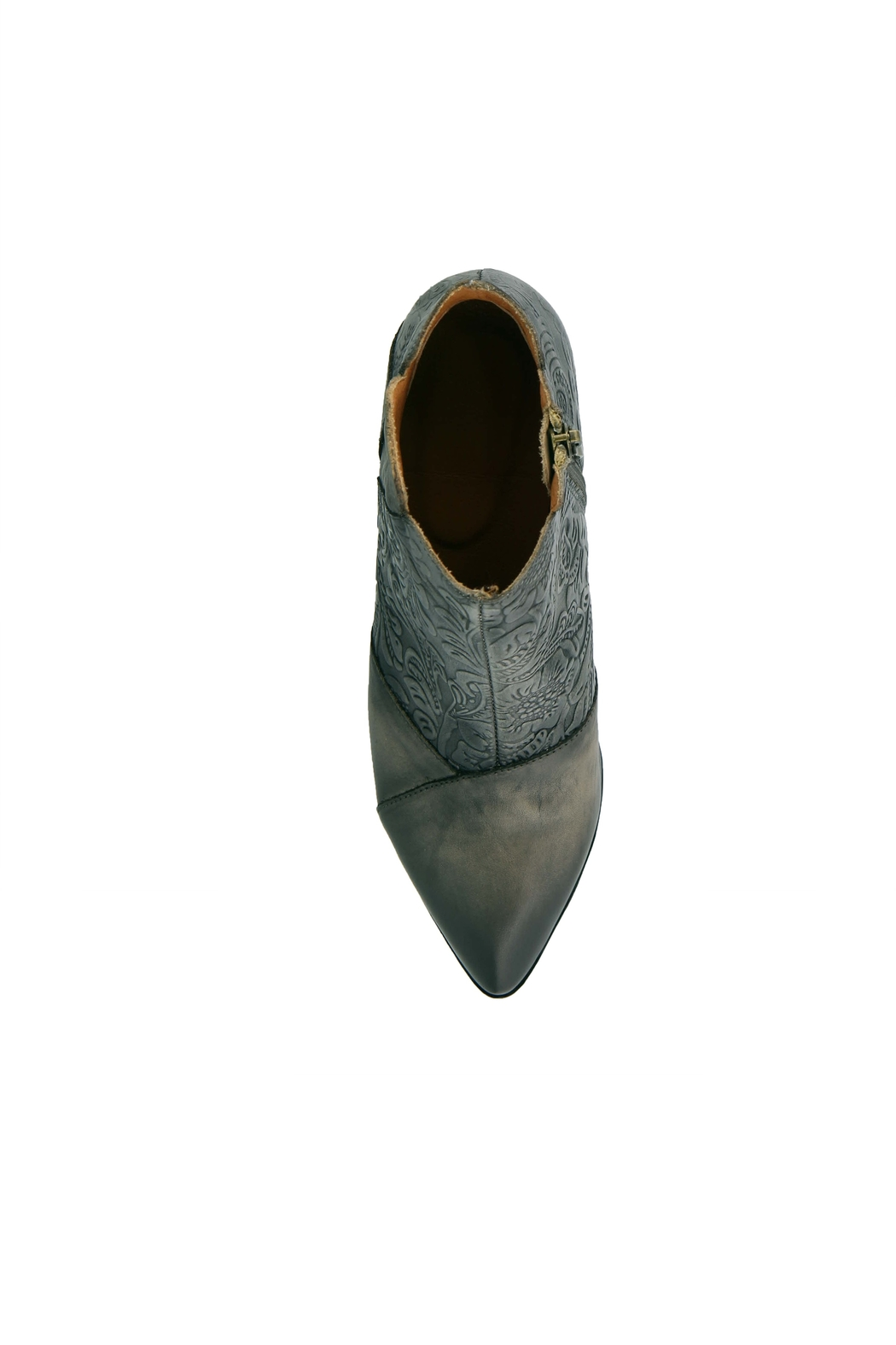 Spring Footwear Embossed Leather Bootie - Back Cropped Image