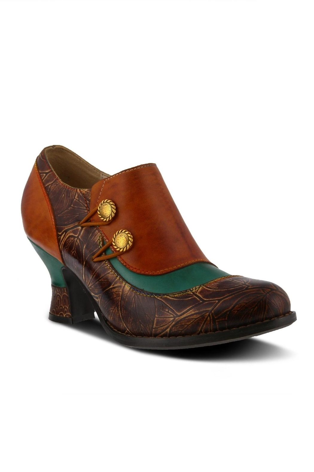 Spring Footwear Embossed Leather Bootie - Front Cropped Image