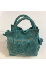 Giuliano Embossed teal and grey Italian leather purse in faux reptile pattern - Front full body