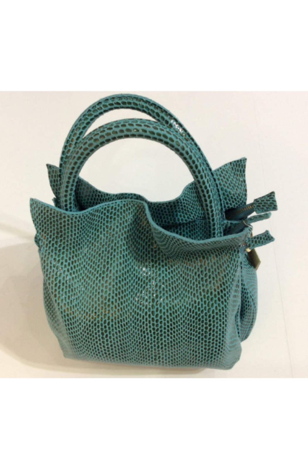 Giuliano Embossed teal and grey Italian leather purse in faux reptile pattern - Main Image