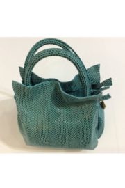 Giuliano Embossed teal and grey Italian leather purse in faux reptile pattern - Front cropped