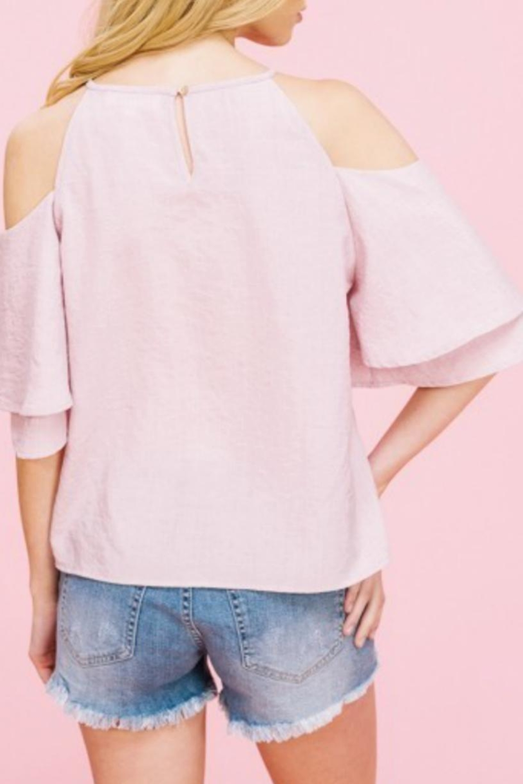 Listicle Embriodery Cold-Shoulder Top - Side Cropped Image