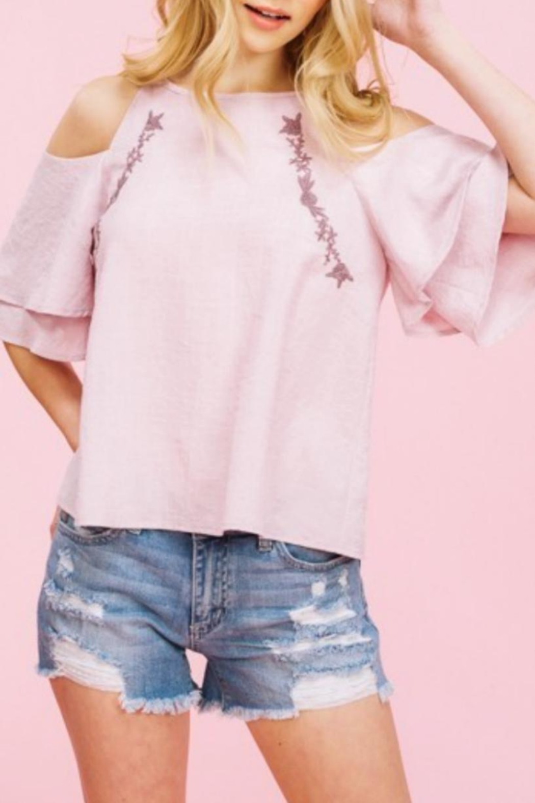 Listicle Embriodery Cold-Shoulder Top - Main Image