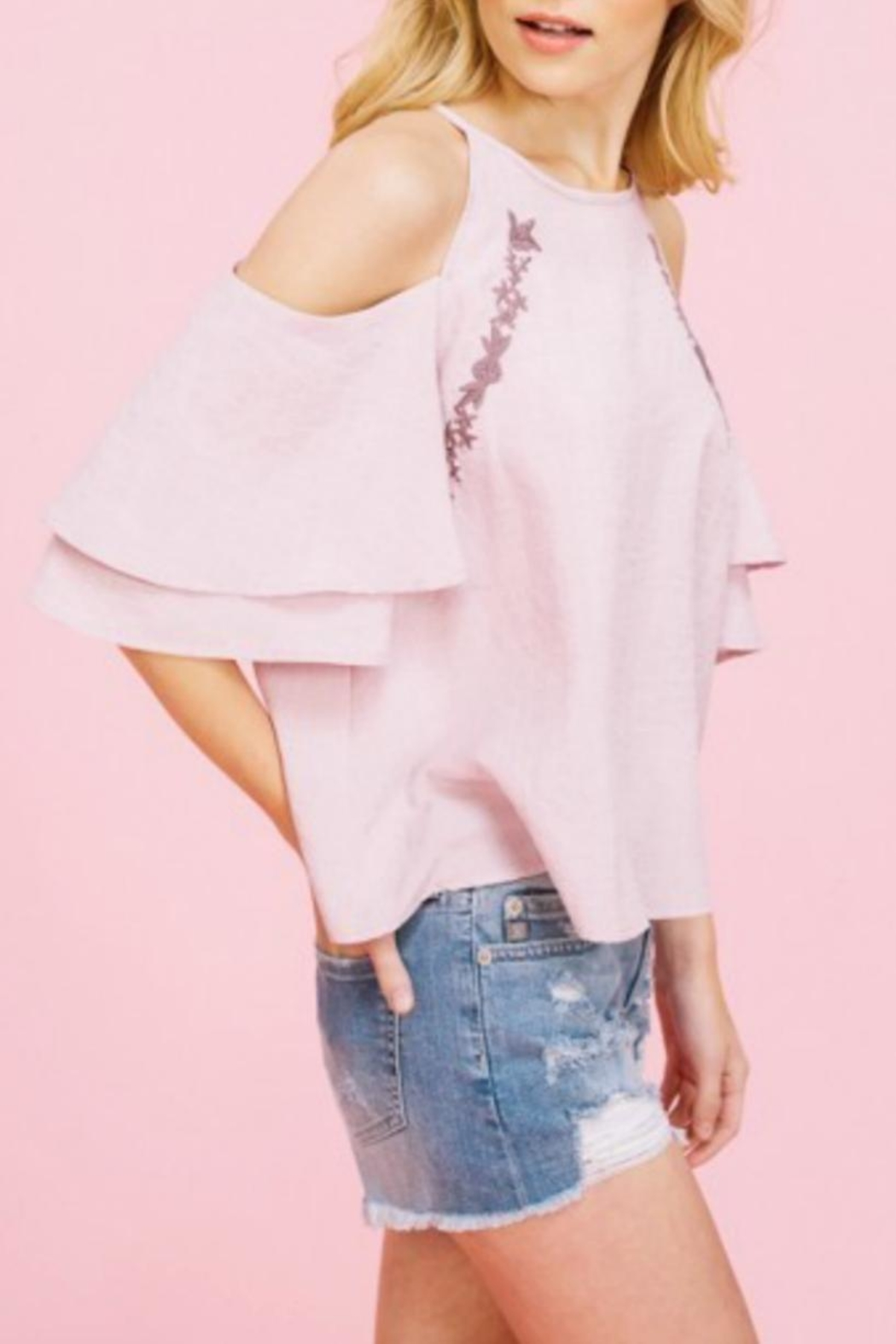 Listicle Embriodery Cold-Shoulder Top - Front Full Image