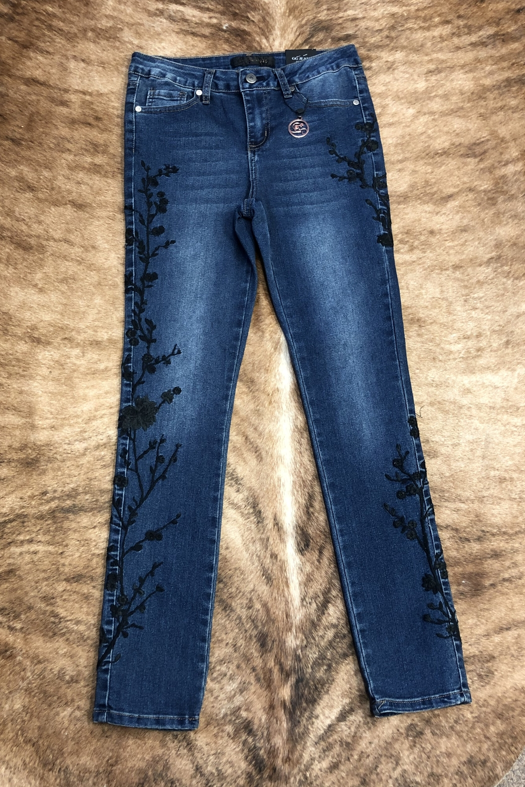 GG Jeans Embrodiered  Slim jeans - Front Cropped Image