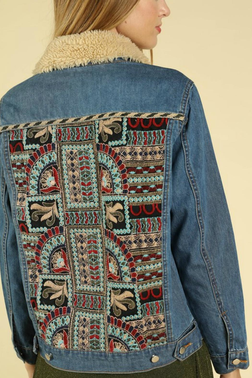 Pretty Little Things Embroiderd Denim Jacket - Front Full Image