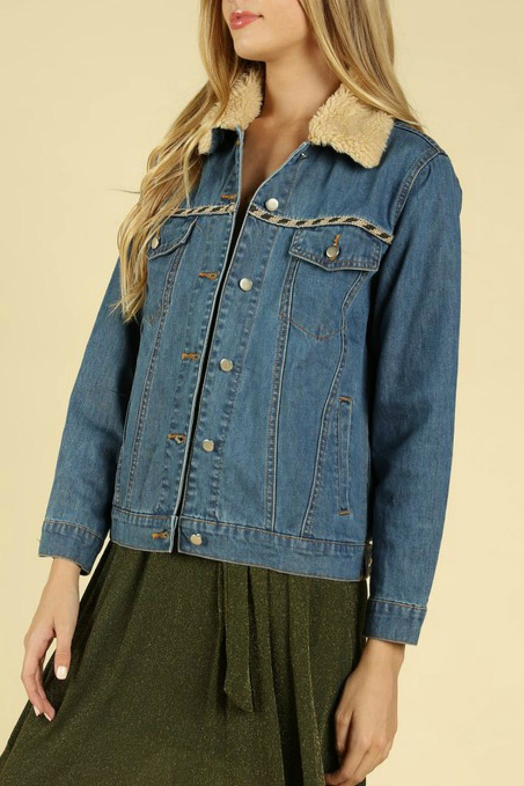Pretty Little Things Embroiderd Denim Jacket - Main Image