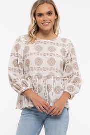 blu pepper  Embroidered 3/4 Sleeve Top - Product Mini Image
