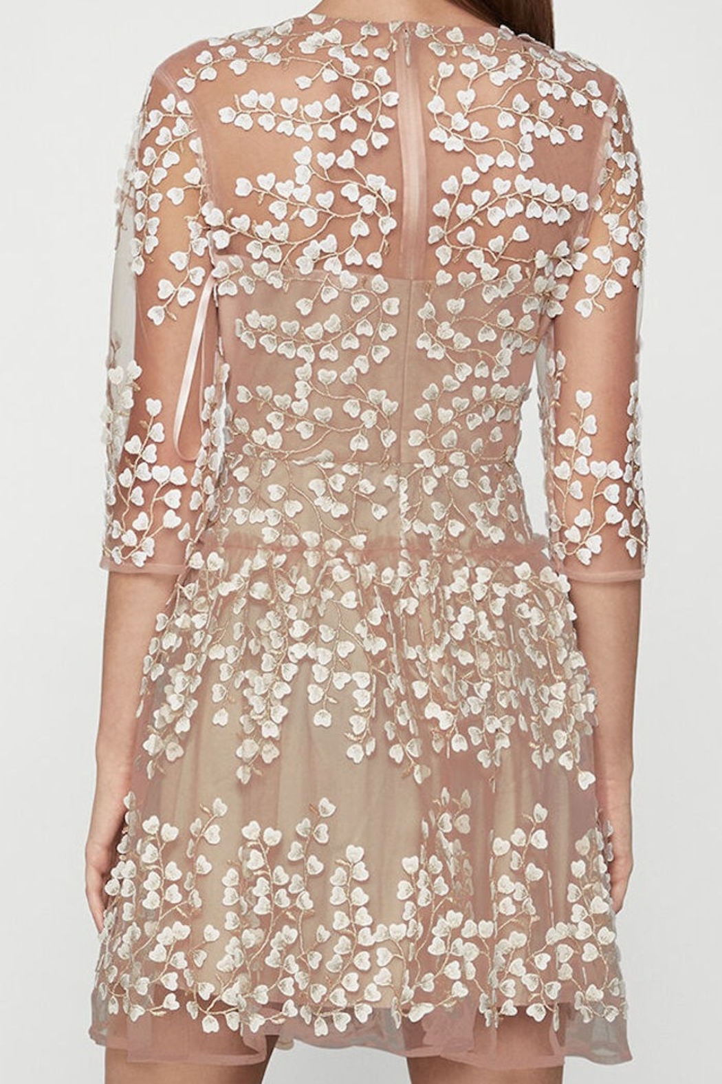 BCBG MAXAZRIA Embroidered A-Line Dress - Front Full Image