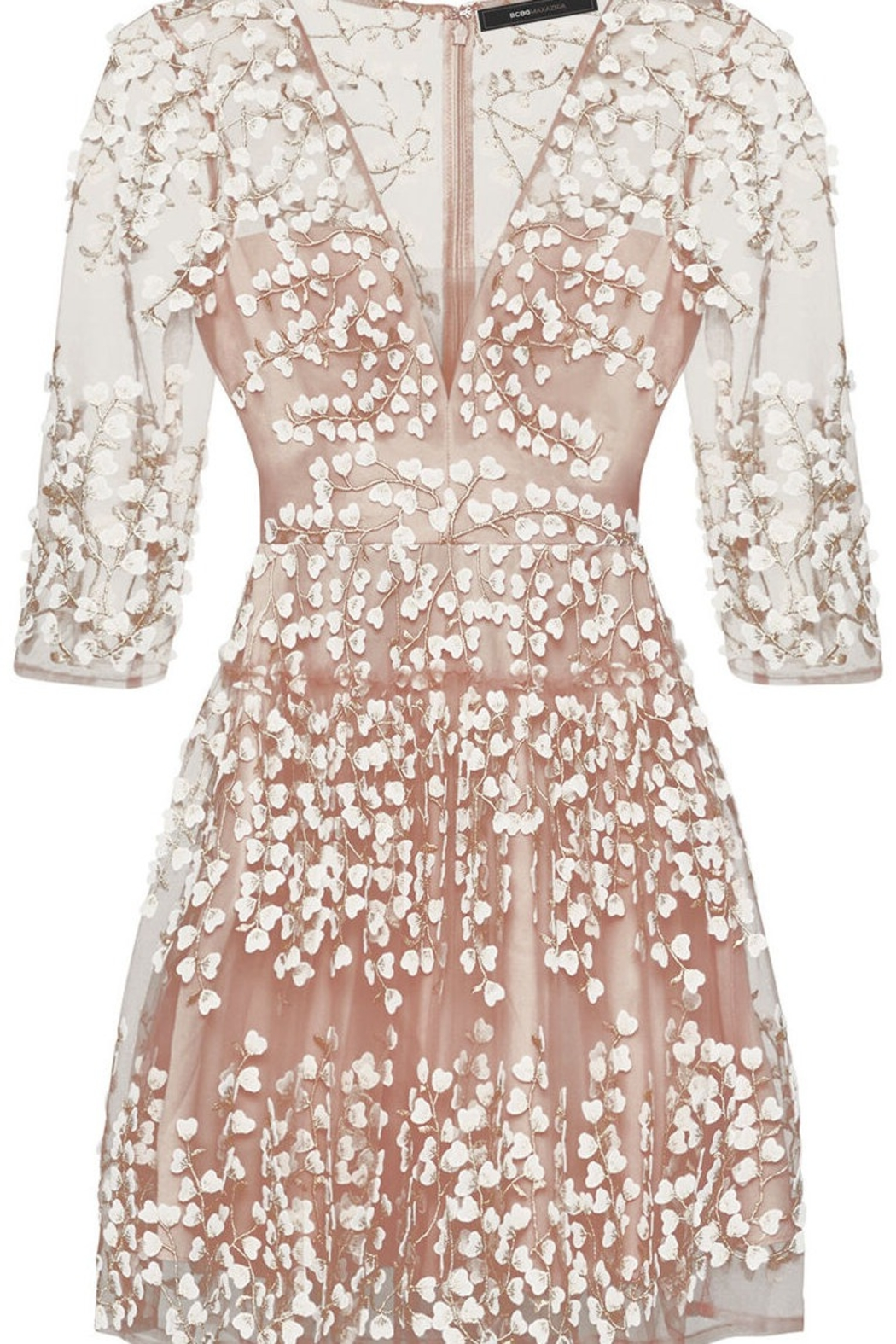 BCBG MAXAZRIA Embroidered A-Line Dress - Side Cropped Image