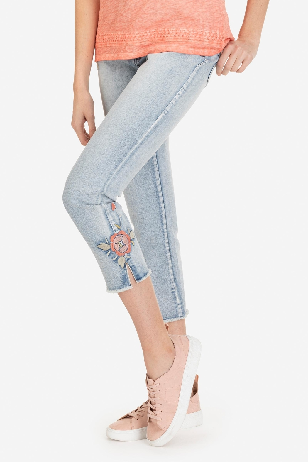 Tribal Embroidered Ankle Jeans - Front Cropped Image