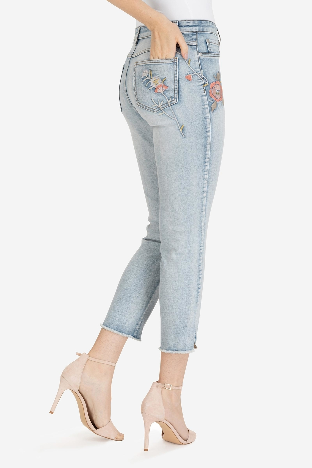 Tribal Embroidered Ankle Jeans - Front Full Image