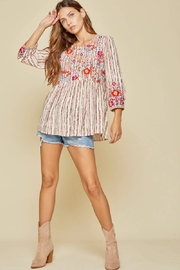 Savannah Jane Embroidered Baby Doll Top - Product Mini Image