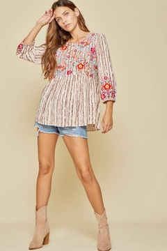 Shoptiques Product: Embroidered Baby Doll Top