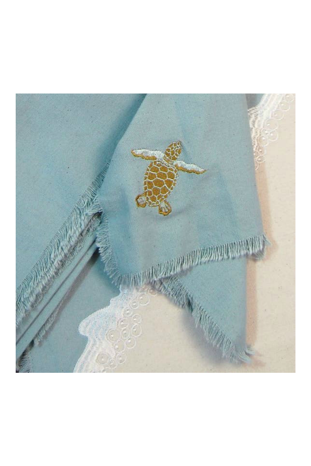 RIGHT SIDE DESIGN Embroidered Baby Sea Turtle Cotton Napkins s/4 - Main Image