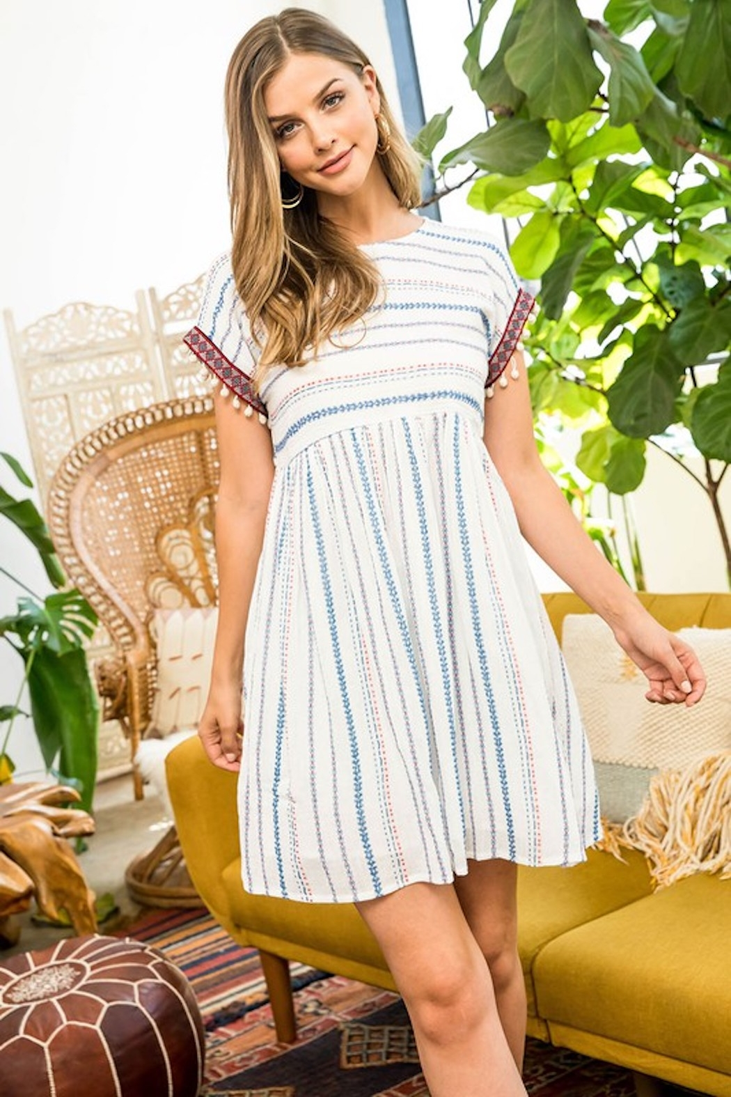 Thml Embroidered Babydoll Dress - Side Cropped Image