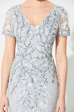 Ivonne D Embroidered Beaded Lace Fit & Flare Gown, Silver - Alternate List Image