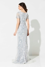 Ivonne D Embroidered Beaded Lace Fit & Flare Gown, Silver - Product Mini Image