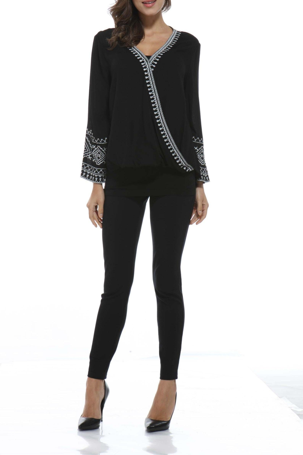 Orange Fashion Village Embroidered Bell-Sleeve Top - Main Image
