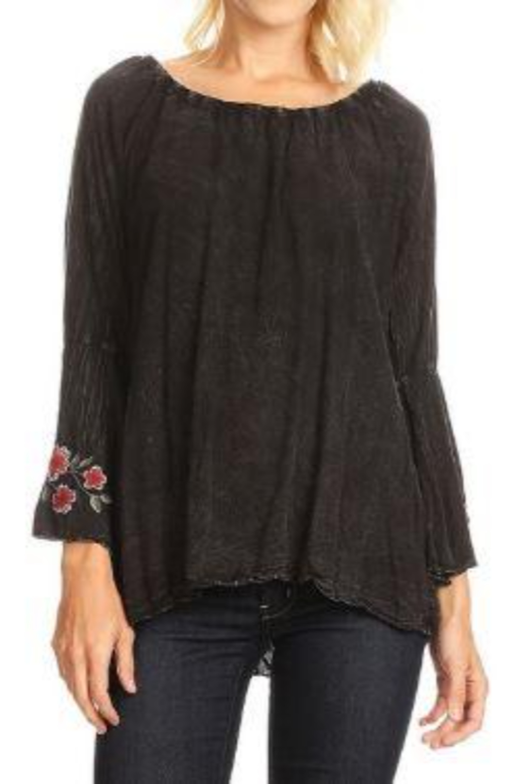T Party Embroidered Bell Sleeve Top - Main Image