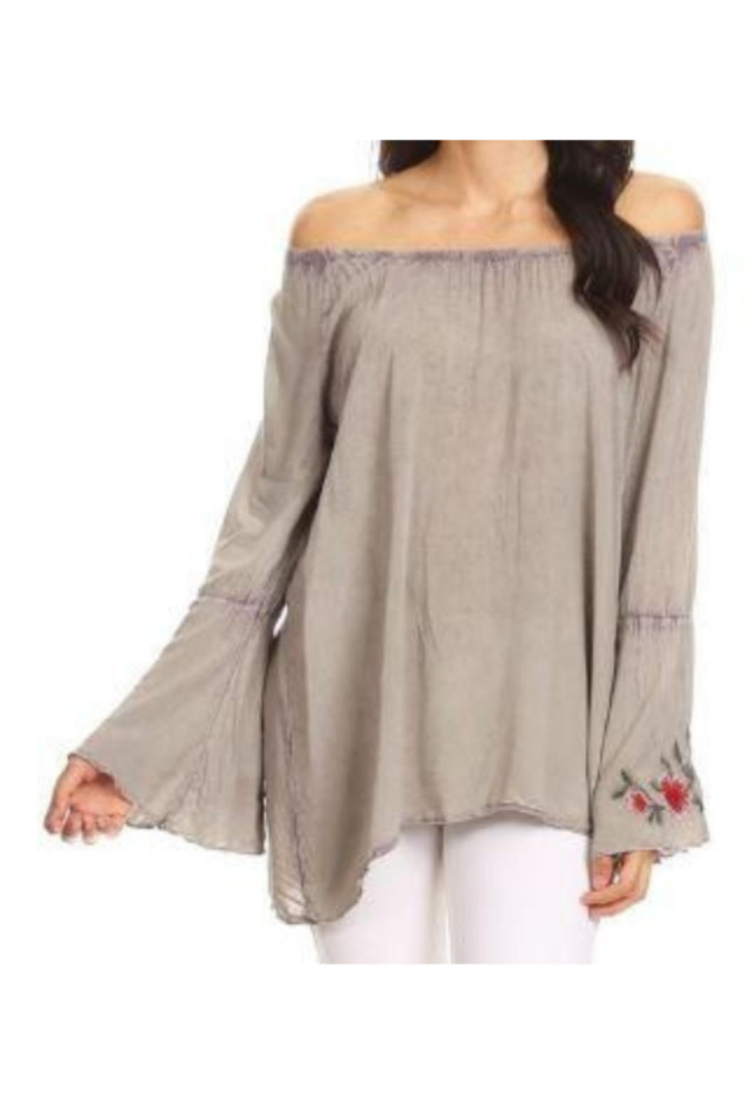 T Party Embroidered Bell Sleeve Top - Front Cropped Image