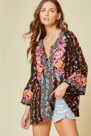 Andree by Unit Embroidered Bell Sleeve Top - Product Mini Image